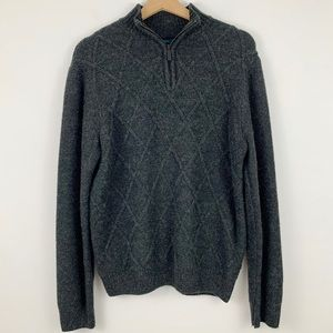 Perry Ellis Pullover Wool Sweater L Cable 1/4 Zip